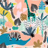 Seamless pattern with giraffe, zebra,tucan, and tropical landscape. Creative jungle childish texture. Great for fabric, textile Vector Illustration - 223430297
