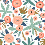 Seamless pattern with flowers,palm branch, leaves. Creative floral texture. Great for fabric, textile Vector Illustration - 223430600