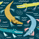 Seamless pattern with crocodile diver. Creative modern childrens background. Perfect for kids apparel,fabric, textile, nursery decoration,wrapping paper.Vector Illustration - 223430631