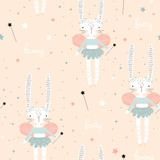 Seamless pattern with cute bunny ballerina with wings, stars, magic wand . Creative childish background. Perfect for kids apparel,fabric, textile, nursery decoration,wrapping paper.Vector Illustration - 223430881