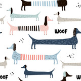 Childish seamless pattern with colorful dachshunds . Trendy scandinavian vector background. Perfect for kids apparel,fabric, textile, nursery decoration,wrapping paper - 223431016