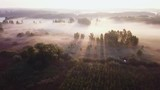 4k AERIAL: Flight over foggy meadow with spectacular long sunbeams. 3840x2160, 30fps. - 223448003