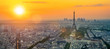 The eifel tower in Paris aerial panorama