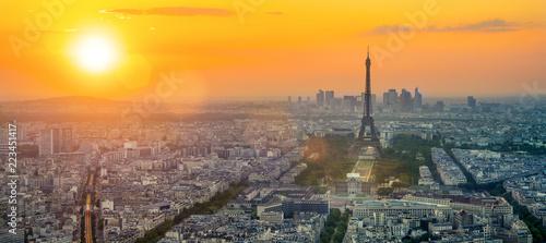 The eifel tower in Paris aerial panorama