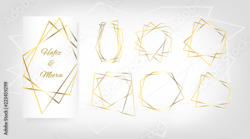 Gold Geometric Wedding Invitation, Set of Luxury Frames. Vector Border Collection for Birthday, New Year, Christmas Card. Glitter Gradient VIP Gold Background, Sale, Wedding Card. Polygon Package Set.