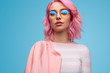 Beautiful and sensual informal woman in pink