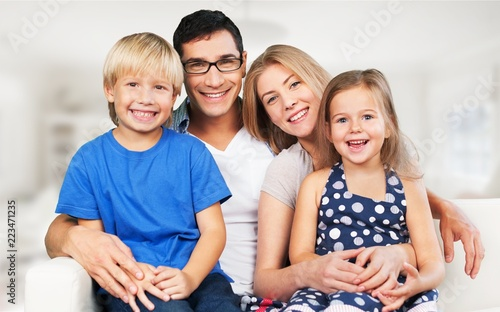 Beautiful smiling Lovely family indoors - 223471235