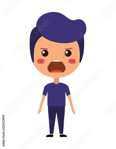 cartoon man angry kawaii character - 223473899