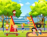Children playing at playground - 223474039
