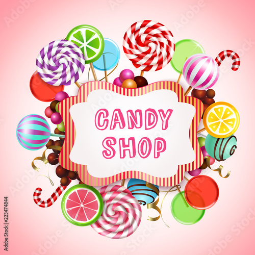 Candy Shop Background Composition - 223474844