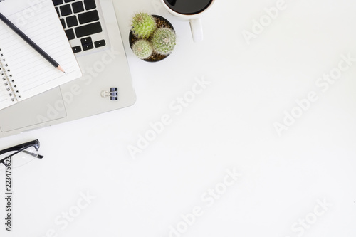 Top office table cup Notepad Computer Top View Office Table With Laptop Computer Cup Of Coffee Cactus Glasses Ap Images Top View Office Table With Laptop Computer Cup Of Coffee Cactus