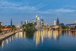 skyline of Frankfurt am Main with river Main in early morning