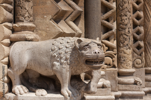 sculpture of a lion near a Gothic temple - 223489602