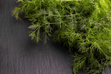 Bunch of green fresh organic dill on the gray slate background. Copyspace - 223492654