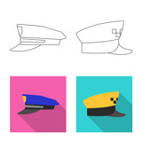 Vector design of headgear and cap sign. Set of headgear and accessory vector icon for stock. - 223495485
