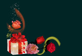 gift box and red roses on black background - 223505093