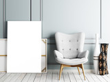 Blank poster, armchair in living room - 223505259