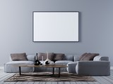 mock up blank poster on the wall of modern living room with corner sofa