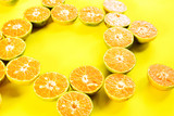 fruit tangerine cutting segments orange background texture