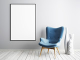 Mock up poster frame with blue armchair and metal table in simple living room interior. - 223511607