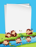 Monkey and blank paper template - 223517663
