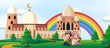 Boy and girl reading book with mosque background - 223517893