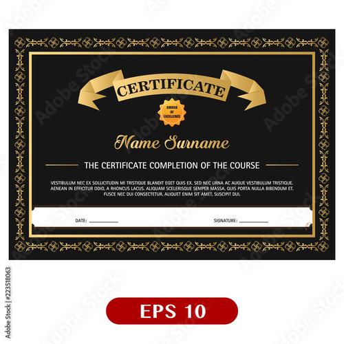 Black Gold Elegant Certificate Template Vector Illustration Buy