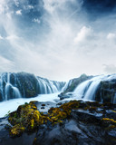 Famous Bruarfoss waterfall with blue water in summer time. Iceland, Europe - 223532821