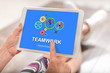 Teamwork concept on a tablet