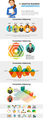 Analytics and startup concept infographic charts set. Business area and process charts for presentation slide templates. Can be used for financial report, workflow layout and brochure design. © RedlineVector