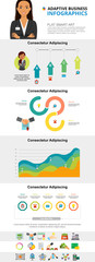 Colorful analysis or marketing infographic charts set. Business process and area charts for presentation slide templates. For corporate report, advertising, leaflet layout and poster design. © RedlineVector