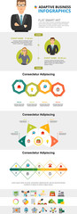 Management and consulting concept infographic charts set. Business process charts for presentation slide templates. For corporate report, advertising, leaflet layout and poster design. © RedlineVector