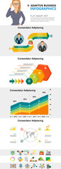 Management and finance charts set for presentation slide templates. Business area and process charts. Marketing concept can be used for annual report, advertising, flyer layout and banner design. © RedlineVector