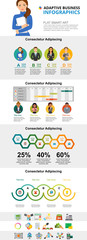 Management and planning infographic charts set. Percentage and process charts for presentation slide templates. Can be used for annual report, advertising, flyer layout and banner design. © RedlineVector