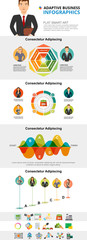 Management workflow and marketing infograph charts set. Business process charts for presentation slide templates. Can be used for annual report, advertising, flyer layout and banner design. © RedlineVector