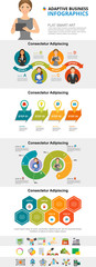 Planning and management concept infographic charts set. Process charts for presentation slide templates. Can be used for annual report, advertising, flyer layout and banner design. © RedlineVector