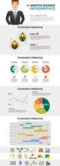 Planning and statistics infographic charts set. Doughnut, line and pie charts for presentation slide templates. Business concept for annual report, flyer layout and banner design. © RedlineVector