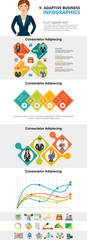 Planning or analysis concept infographic charts set. Business percentage and line charts for presentation slide templates. For corporate report, advertising, leaflet layout and poster design. © RedlineVector