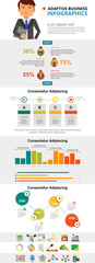 Research and strategy concept infographic charts set. Percentage and bar charts for presentation slide templates. Can be used for annual report, advertising, flyer layout and banner design. © RedlineVector
