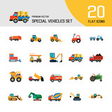 Special vehicles icon set. Skid loader, tractor, industrial elevator. Vehicle concept. Can be used for topics like industry, construction, road building - 223544833