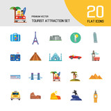 Tourist attraction icons set. Thirteen vector icons of Eiffel Tower, Big Ben, Pyramids and other tourist attractions - 223545021