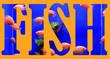 Leinwandbild Motiv The inscription is a fish against a blue aquarium with fish and plants.