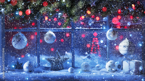 Foto Murales Christmas Decoration With Fir Branches And Balls