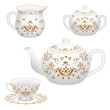 Tea party decorative porcelain table set  in traditional oriental design style