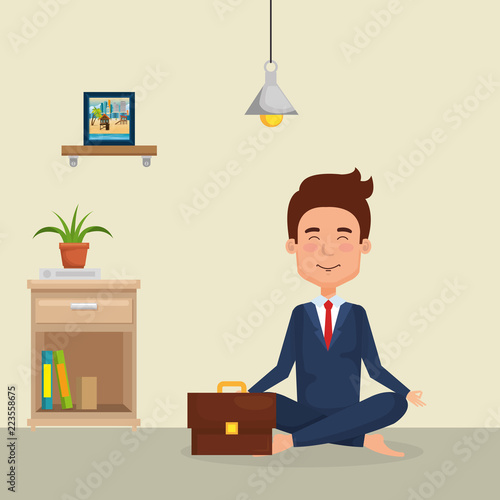 young man practicing yoga - 223558675