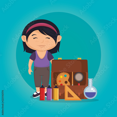 little schoolgirl with education supplies - 223562076