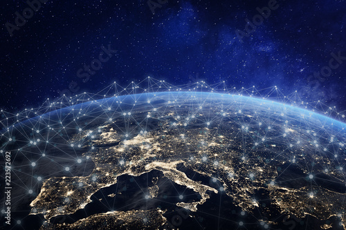 Foto Murales European telecommunication network connected over Europe, France, Germany, UK, Italy, concept about internet and global communication technology for finance, blockchain or IoT, elements from NASA