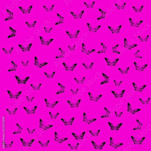 Abstract Butterflies silhouettes pattern on violet background. - 223575049