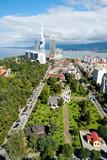 View of seaside resort city Batumi. Aerial View Of Batumi Urban Cityscape. Adjara Georgia. Black Sea