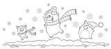 Drei Schweine im Schnee - Vektor Illustration - 223593651